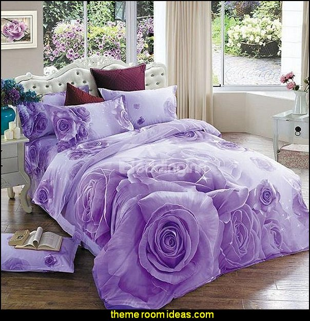 Purple Rose Print 4-Piece Cotton Duvet Cover Sets   floral bedding