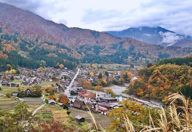 The Doraemon village is beautiful like a fairy in Japan autumn