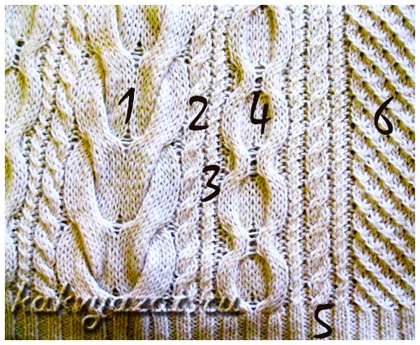 Приемы вязания, используемые в модели: крупный план.