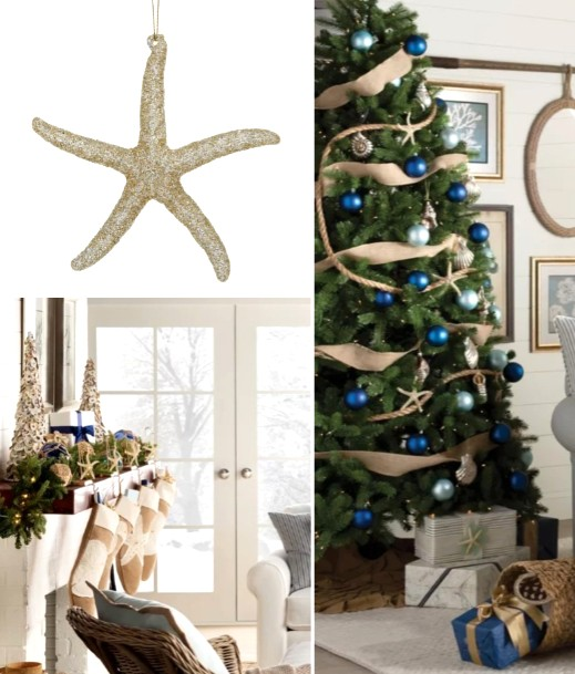 Gold Starfish Ornaments for Coastal Christmas Tree
