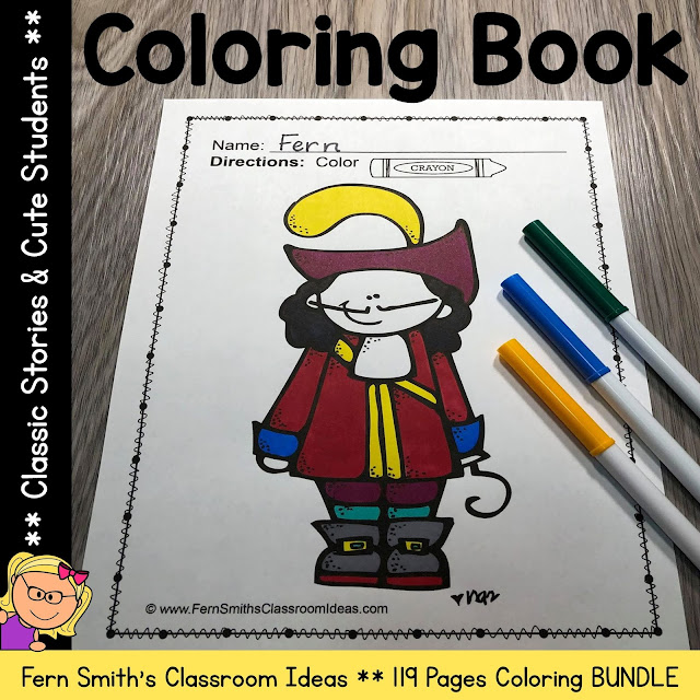 Classic Stories Coloring Pages and Cute Students Coloring Pages 119 Page Bundle