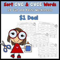 CVC and CVCE Cut and Paste Worksheets