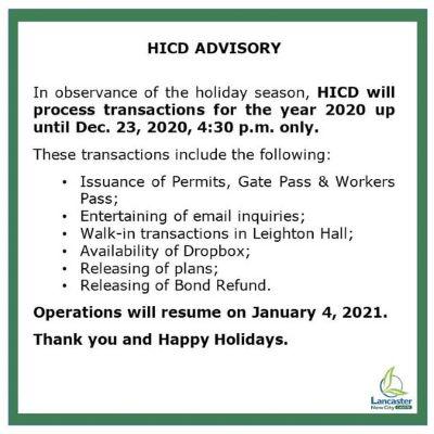 HICD ADVISORY in Lancaster New City