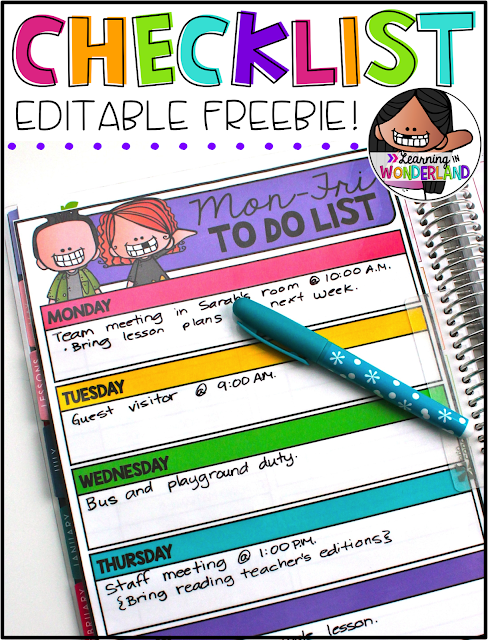 Get this cute checklist for FREE! Laminate it and put it into your planner to use every week!