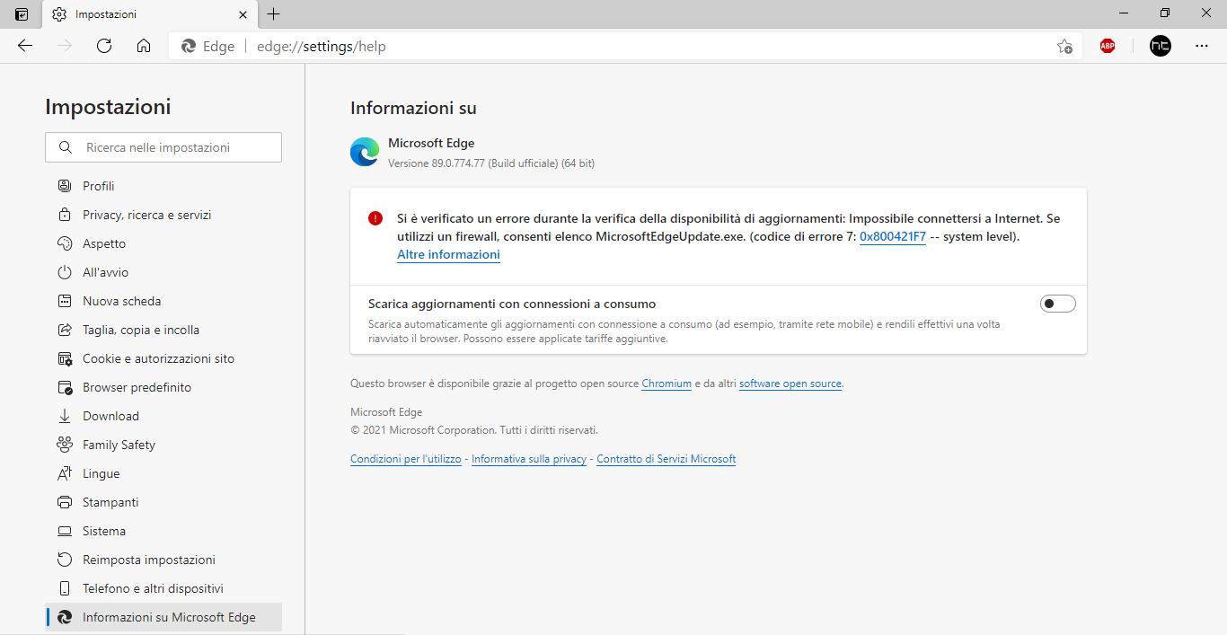[Soluzione] Microsoft Edge: Si è verificato un errore durante la verifica della disponibilità di aggiornamenti