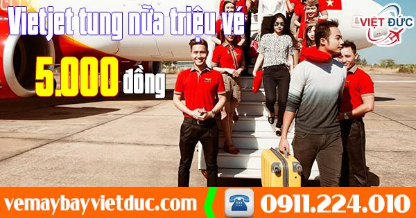 Bán vé 5.000 đồng từ hãng Vietjet Air