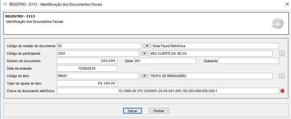 Registro E113 - Identificação dos Documentos Fiscais