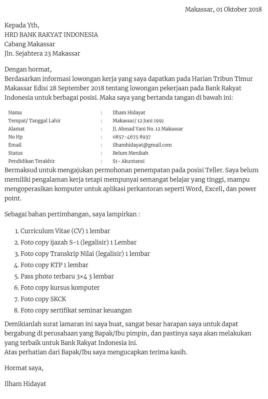 contoh surat lamaran kerja bahasa inggris untuk profesi guru. Contoh Surat Lamaran Kerja - Lowongan Kerja Kalimantan Tengah
