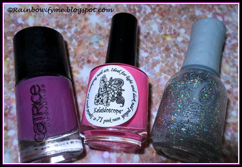 "Catrice ""Pink Punk"", El Corazón stamping polish ""Pink Neon"", Orly ""Shine On Crazy Diamond"""