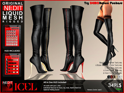 *ICEL* ~ LIQUID MESH OVER KNEE BOOTS