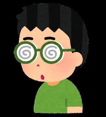分厚いメガネを掛けた人のイラスト(男性・ぐるぐる)