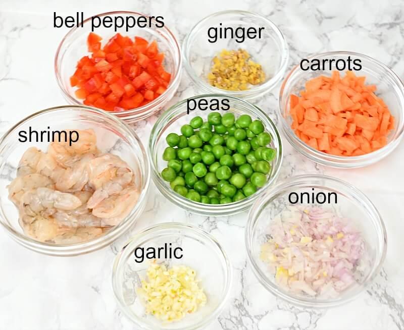 ingredients to make thai pineapple fried rice
