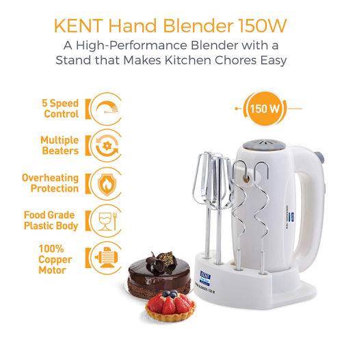 Kent 150W White Hand Blender
