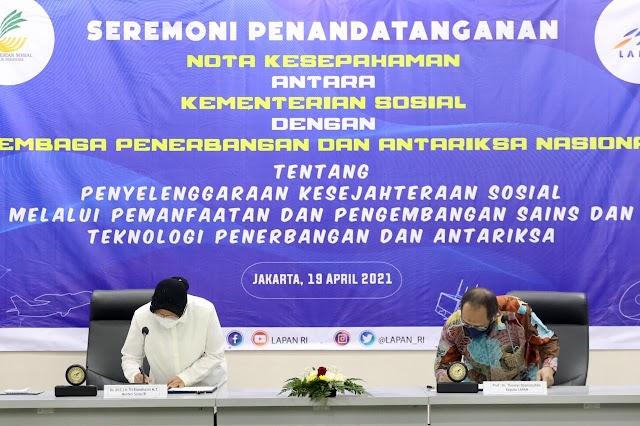 Penandatanganan Nota Kesepahaman Antara Kementerian Sosial dengan Lembaga Penerbangan dan Antariksa Nasional
