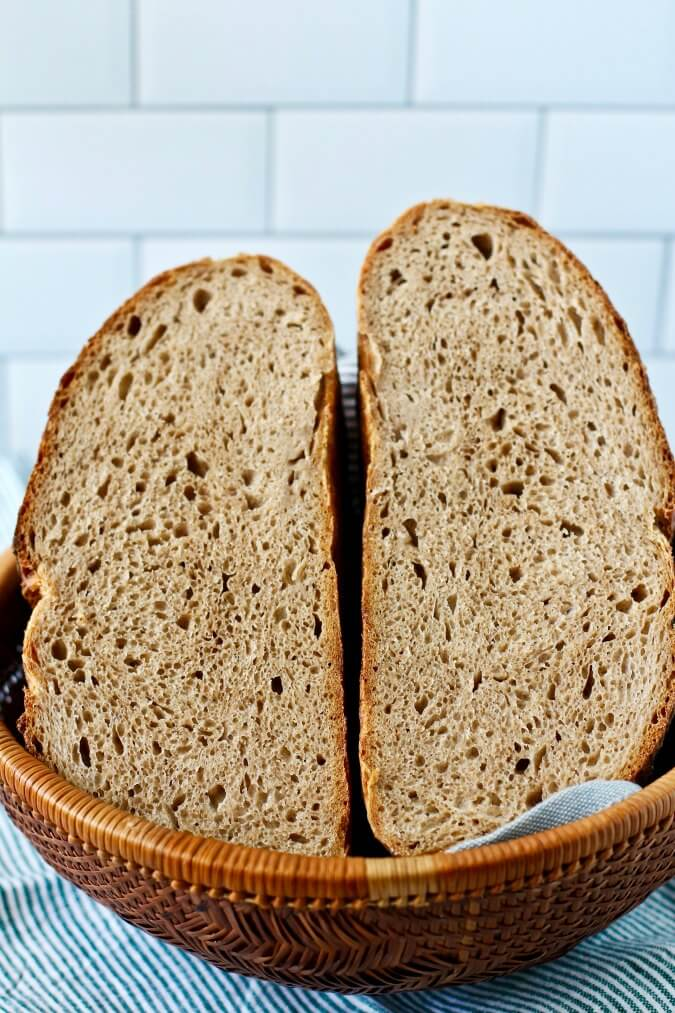 Seventy five percent Whole Wheat Sourdough Bread crumb