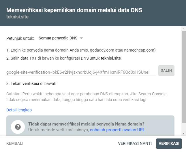 Verifikasi Domain melalui Data DNS