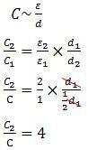 Hubungan kapasitas kapasitor dengan konstanta dielektrikum dan jarak antarkeping