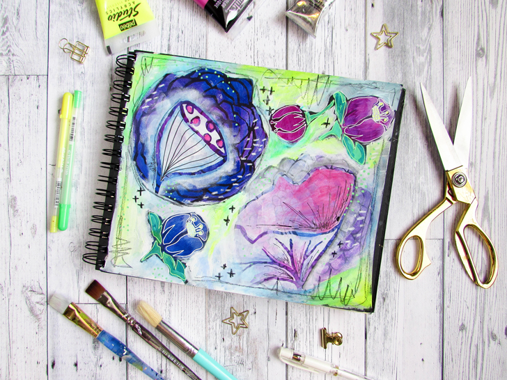 Messy Florals Art Journal Page