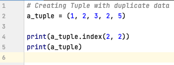 Retrieve index of an element in Tuple