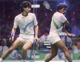 Squash Most decorated player, Jansher Khan (left) and Jahangir Khan (right) in action at World Championship.