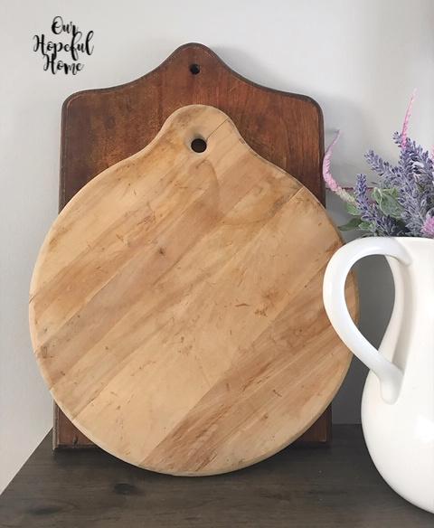 vintage round cutting board thrift store kitchen ironstone pitcher