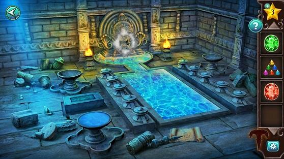 течет вода и наполняет бассейн в комнате