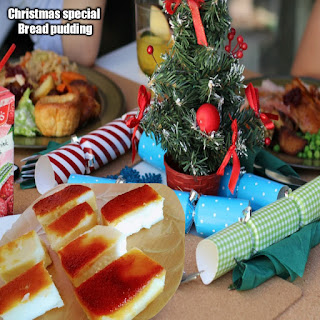 Eggless bread pudding-Christmas special dessert