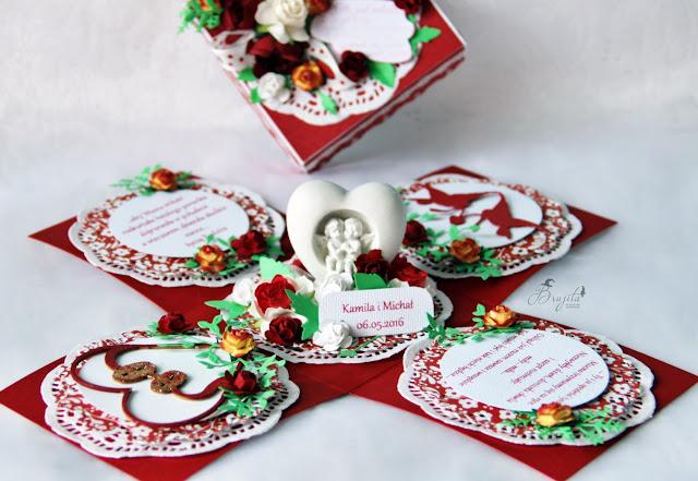 prezent na ślub, jak wręczyć pieniążki na ślub, pomysł na prezent ślubny, exploding box, galeria papieru inspiracje, Hot&cold Rapakivi