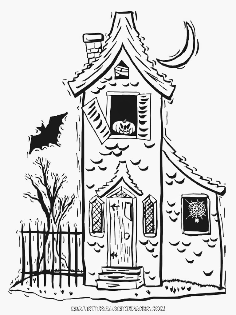 Halloween haunted house coloring pages realistic for Disegni di case