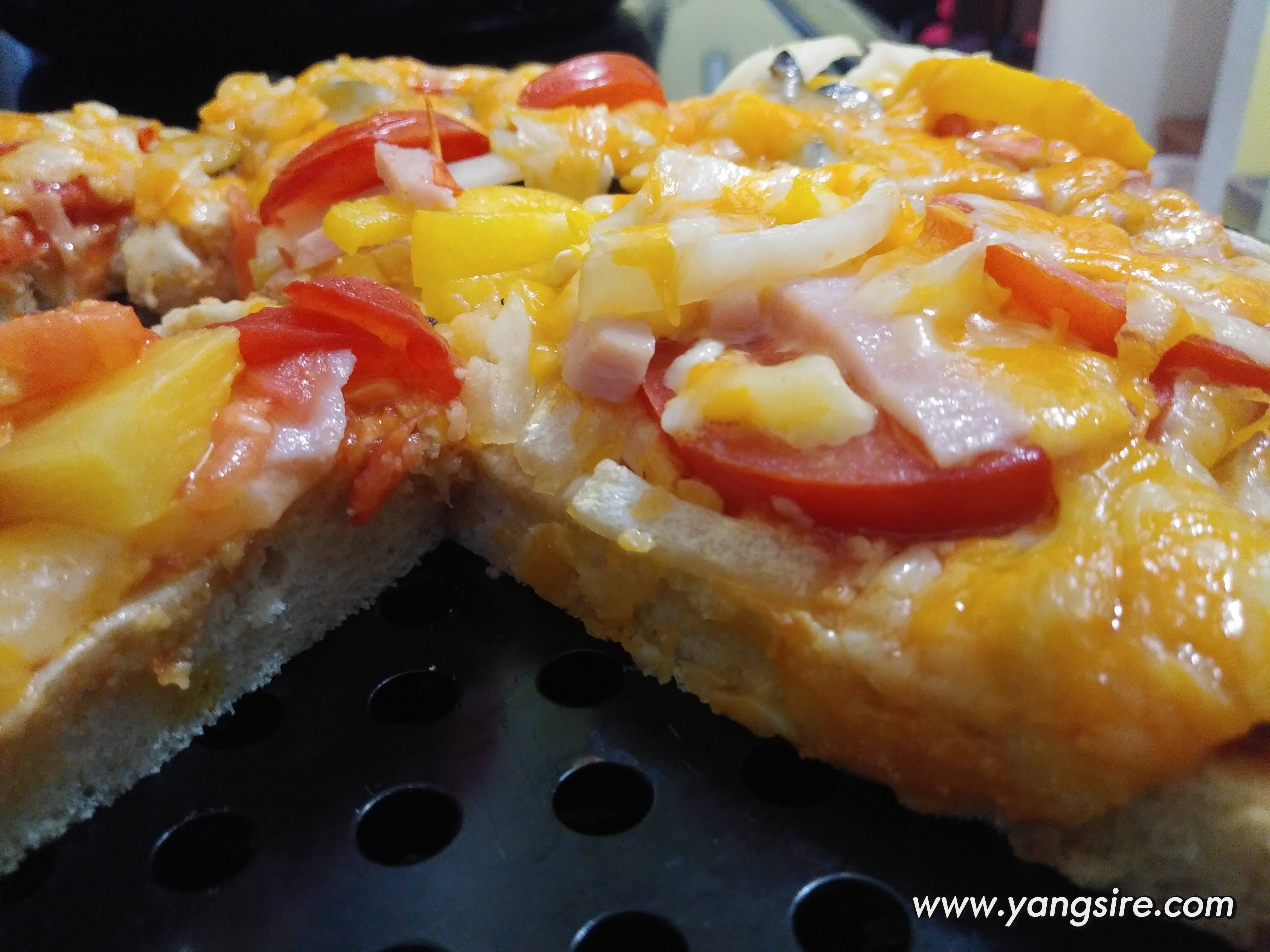Homemade pizza fully loaded of health toppings.