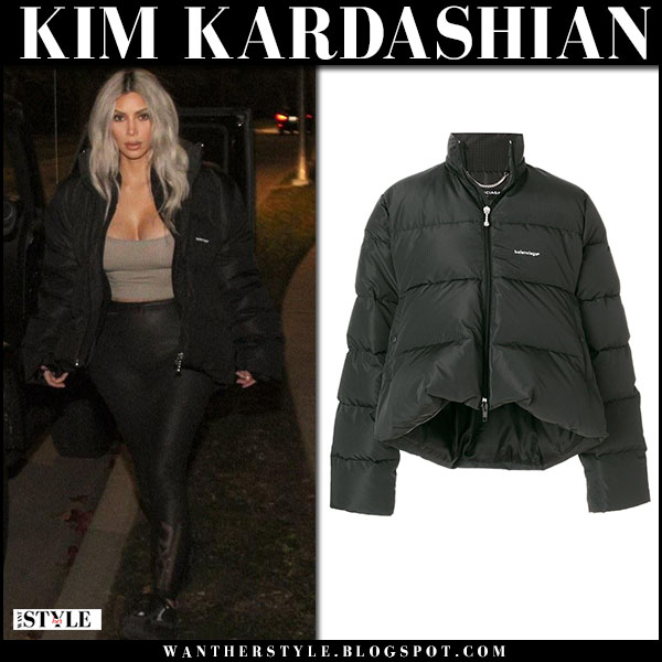 Kim Kardashian in black puffer balenciaga jacket and black leggings street style february 11