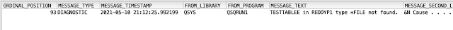 Job log info from SQL - IBM i