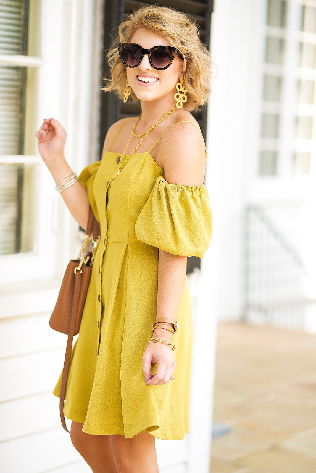 The Perfect Transition Dress: Puff Sleeve Button Up Dress - Something Delightful Blog