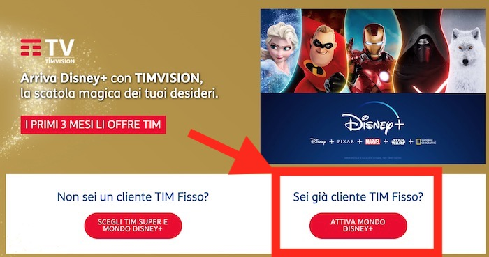 come abbonarsi a disney+ plus con tim