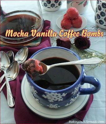 Mocha Vanilla Coffee Bombs melt Nutella, cocoa and vanilla fun into your cup of coffee. | Recipe developed by www.BakingInATornado.com | #recipe #coffee
