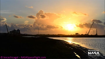 Beautiful sunrise? at SpaceX Boca Chica facilities (Source: Mary, @bocachicagal)