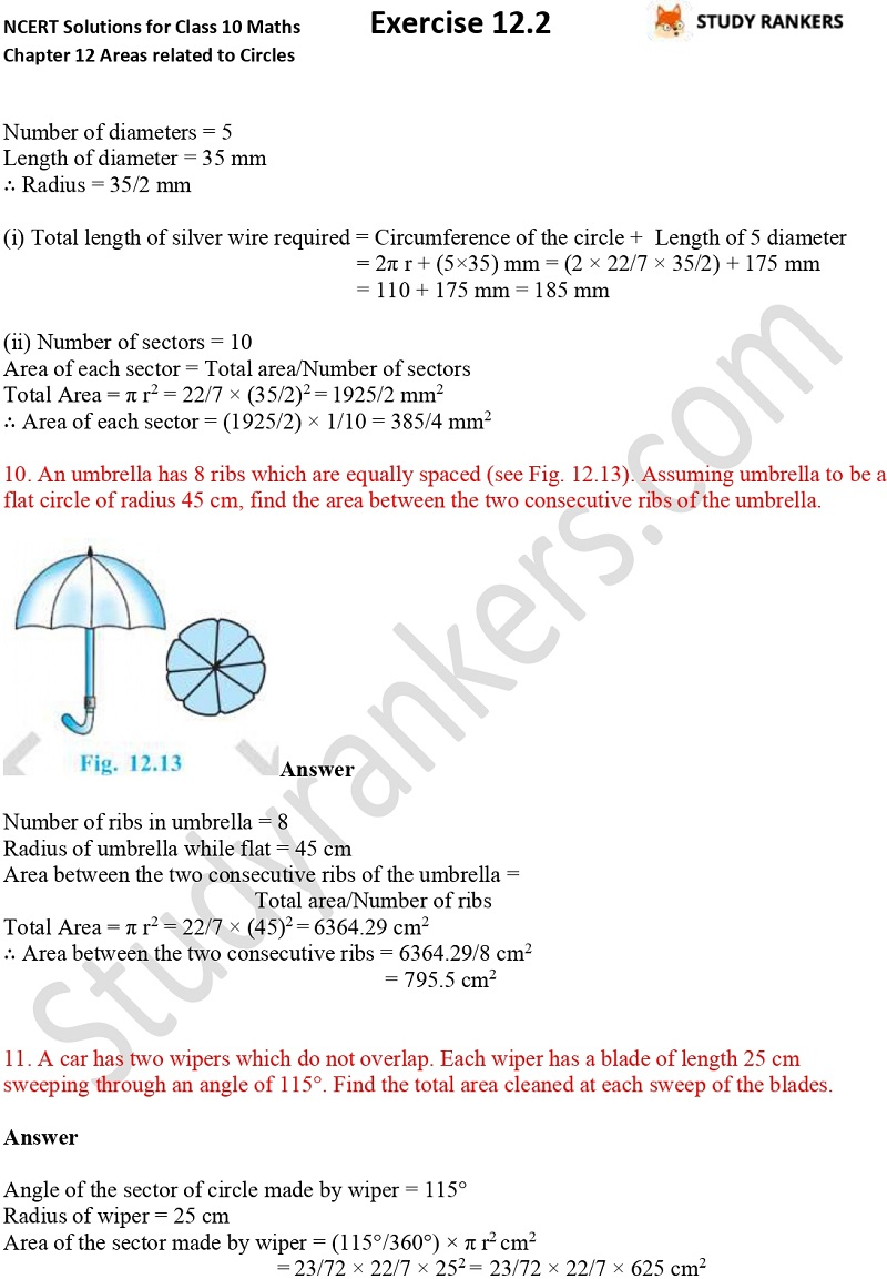 NCERT Solutions for Class 10 Maths Chapter 12 Areas related to Circles Exercise 12.2 Part 2
