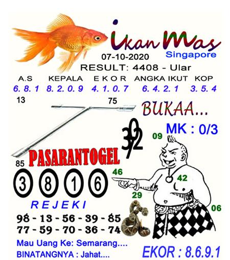 Syair Ikan Mas SGP Rabu 07 Oktober 2020