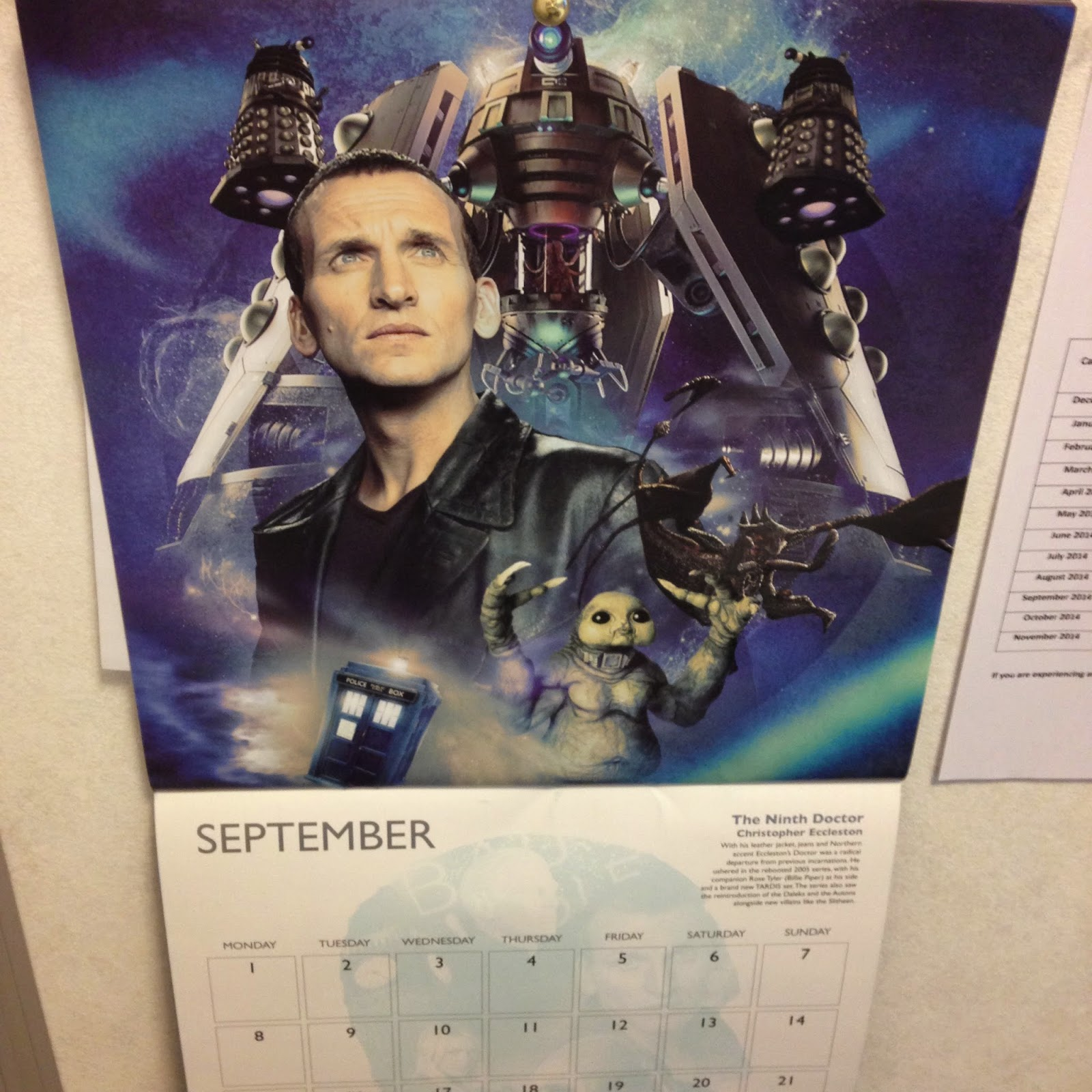Chris Eccleston Doctor Who Calendar September 2014