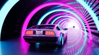 Retro, DeLorean, Car, OutRun, Digital Art, 4K, #6.2508