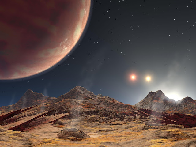 Artist's impression of the view from a hypothetical moon in orbit around planet in a triple-star system
