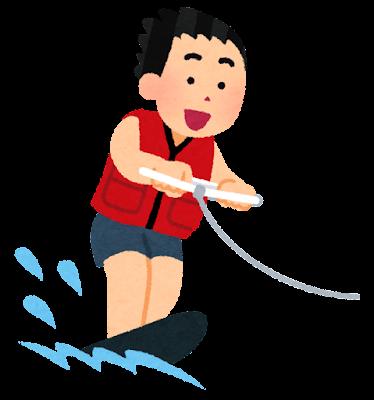 水上スキーのイラスト(モノスキー)