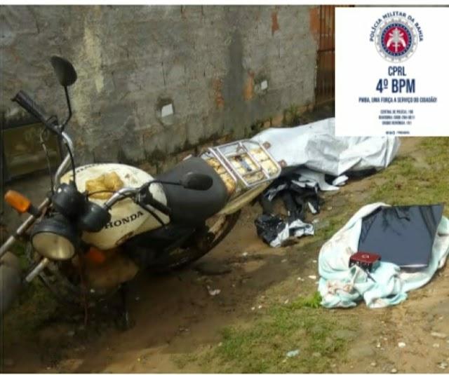 Em Inhambupe, policiais do Quarto Batalhão recuperam motocicleta e materiais roubados