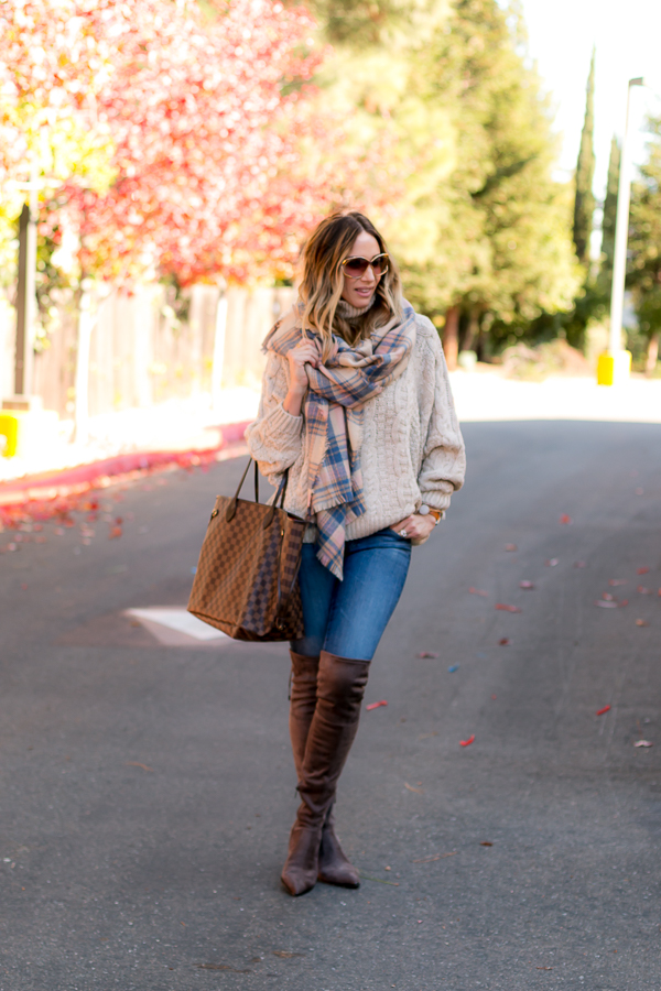 pink and blue plaid scarf