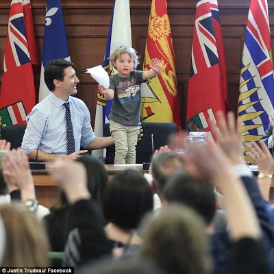 Canadian Prime Minister, Justin Trudeau takes his adorable 3-yr-old son to work for the day (photos)