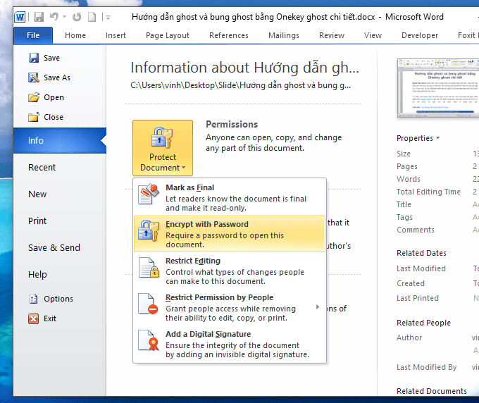 hướng dẫn đặt password cho file word