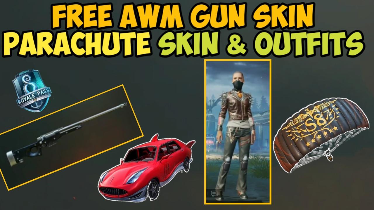 Pubg Mobile Awm Gun Skin Parachute Skin Permanent Outfits For Free