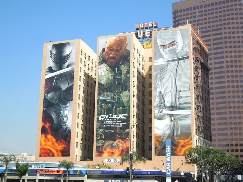 Giant trio GI Joe 2 movie billboards Hotel Figueroa