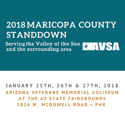 banner for 2018 Maricopa County StandDown.  Text: Serving the Valley of the Sun and the surrounding area.  January 25-27.  Arizona Veterans Memorial Coliseum at the Arizona State Fairgrounds.  1826 W. McDowell Road in Phoenix
