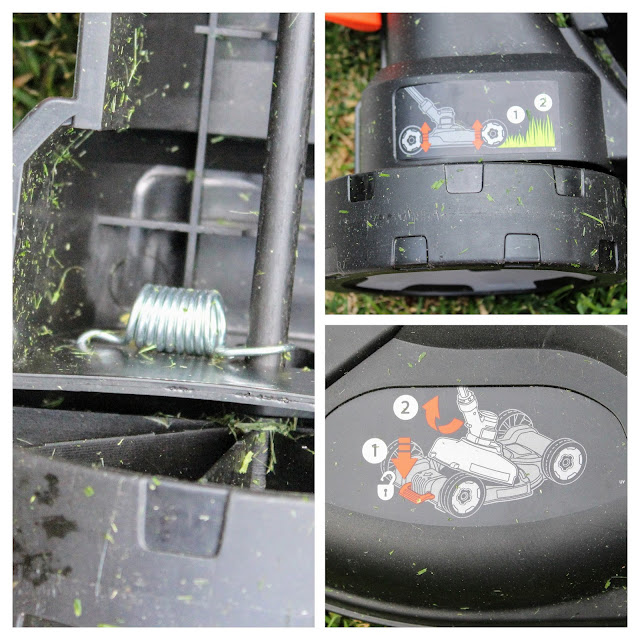 Black & Decker 3 in 1 Cordless Mower - A three picture collage of the wheel and visual use instructions on the detachable mower deck.